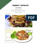 Carta Del Restaurant Estelita Buen Gusto Por La Comida