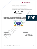 WORKING CAPITAL MANAGEMENT of axis bank  Finance Research 2014 (2).doc