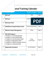 Skillwith Training Schedule