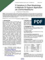 Identification of Variations in Plant Morphology Through Different Methods of Gypsum Application in Tulsi Ocimumbasilicum