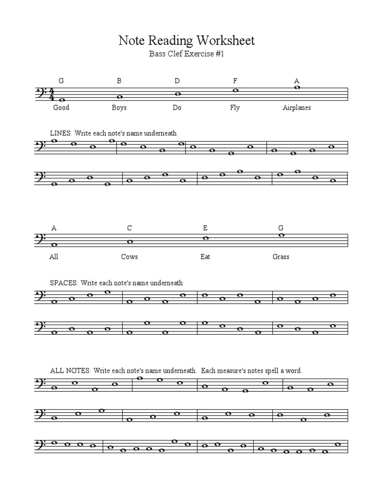 worksheet Note Names Worksheet bass clef note reading packet musical compositions notation