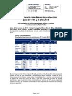 Volcan Nota de Prensa Prod 4T14