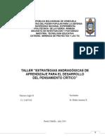"""TALLER """"ESTRATEGIAS ANDRAGÓGICAS DE APRENDIZAJE PARA EL DESARROLLO         DEL PENSAMIENTO CRÍTICO"""""""