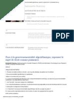 Antoinette Rouvroy_Face à La Gouvernementalité Algorithmique, Repenser Le Sujet de Droit
