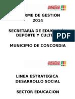 Informe de Gestión Secretaría de Educación Deporte y Cultura