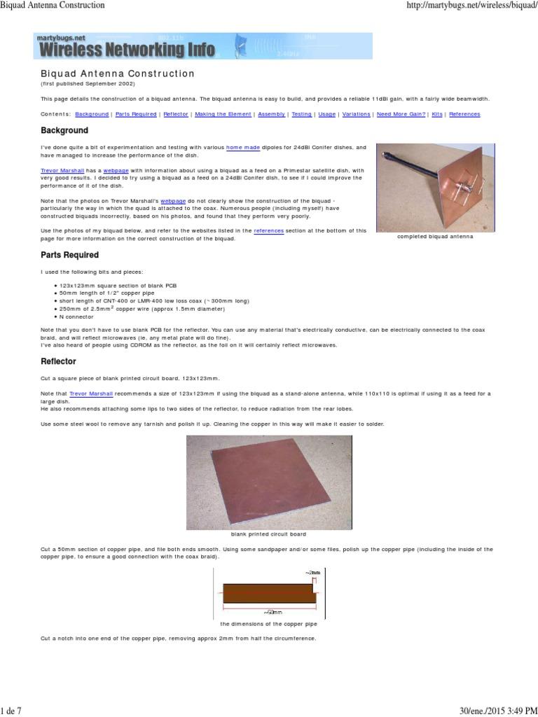 Biquad Antenna Construction | Antenna (Radio) | Coaxial Cable