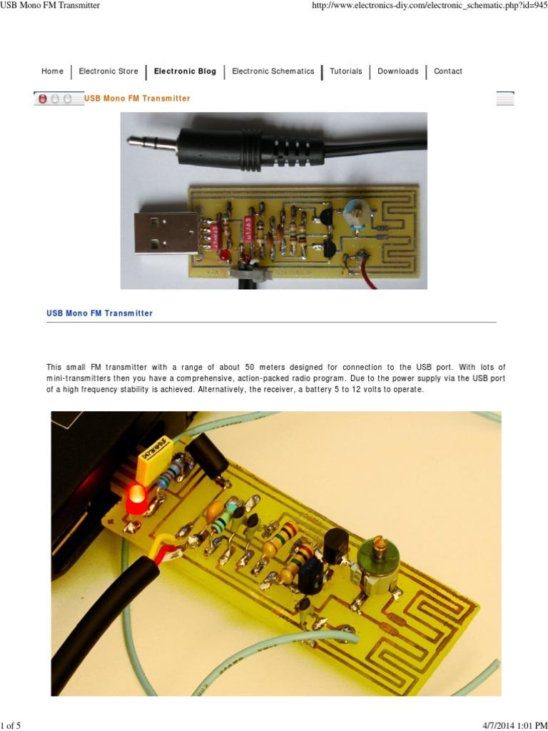 Usb Mono Fm Transmitter Radio Receiver For Battery Supply
