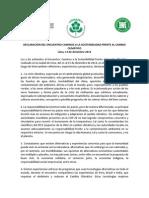Declaracion Del Encuentro Caminos a La Sostenibilidad Frente Al CC