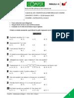 Mate.info.Ro.3263 Subiecte Comper - Matematica - Ianuarie 2015 - Clasa a I-A