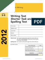 3 Ks2 English 2012 Writing Test Shorter Task Spelling Test External
