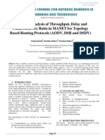 Study and Analysis of Throughput, Delay and Packet Delivery Ratio in MANET for Topology Based Routing Protocols (AODV, DSR and DSDV)