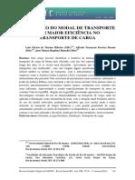 Utilização do modal de transporte com maior eficiencia no transporte de carga