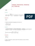 Números Complejos, Polinomios, Sistemas de Ecuaciones y Matrices