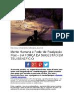 Mente Humana e Poder de Realização Post – 9 A FORÇA DA SUGESTÃO EM TEU BENEFÍCIO