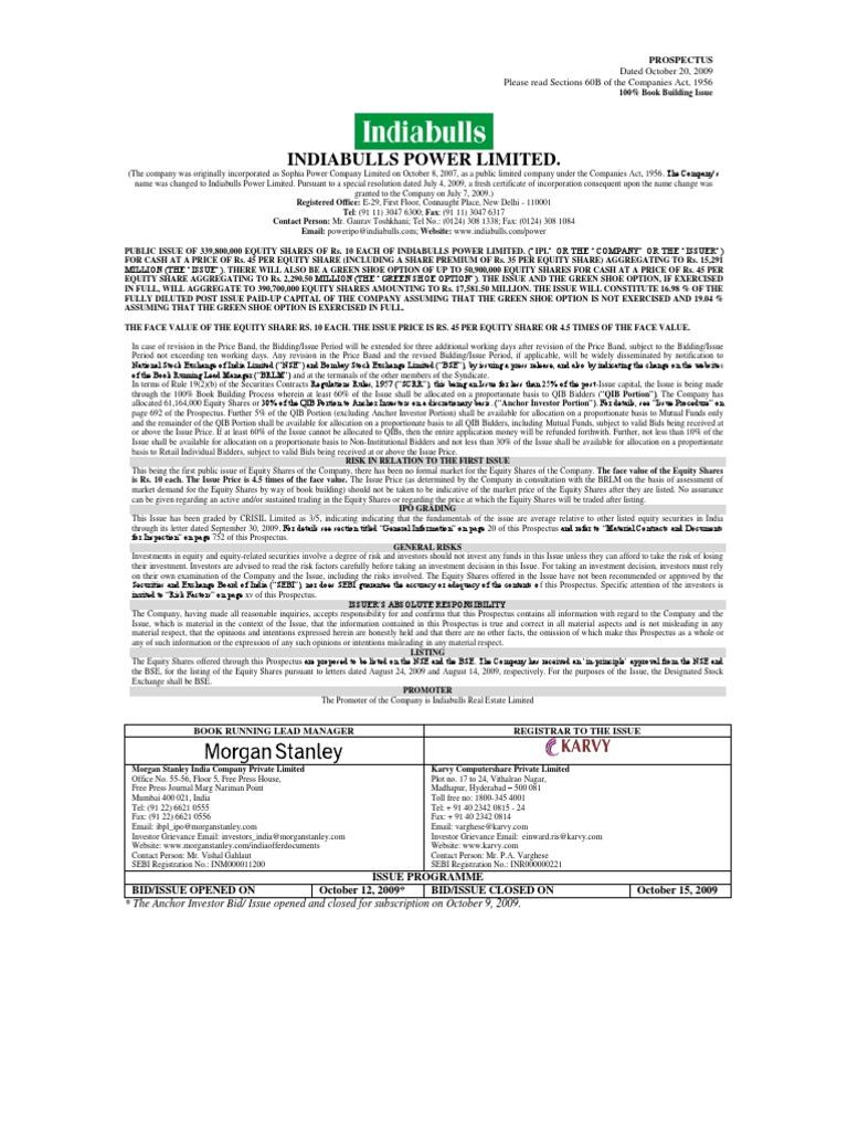Indiabulls Prospectus Stocks Securities Finance