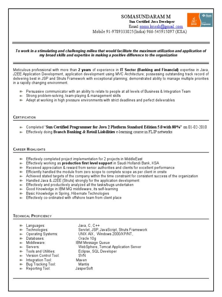 SomaSundaram Resume Updated | Online Banking | Java