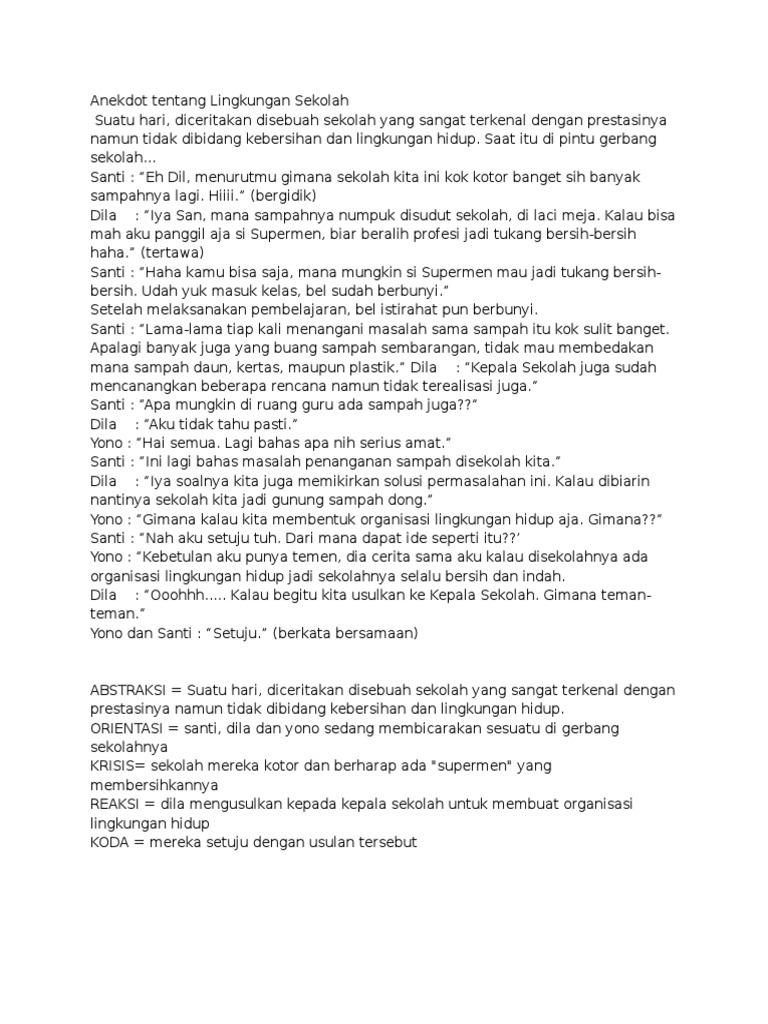 Gambar Contoh Dialog Teks Anekdot Dengan Tema Lingkungan Sekolah