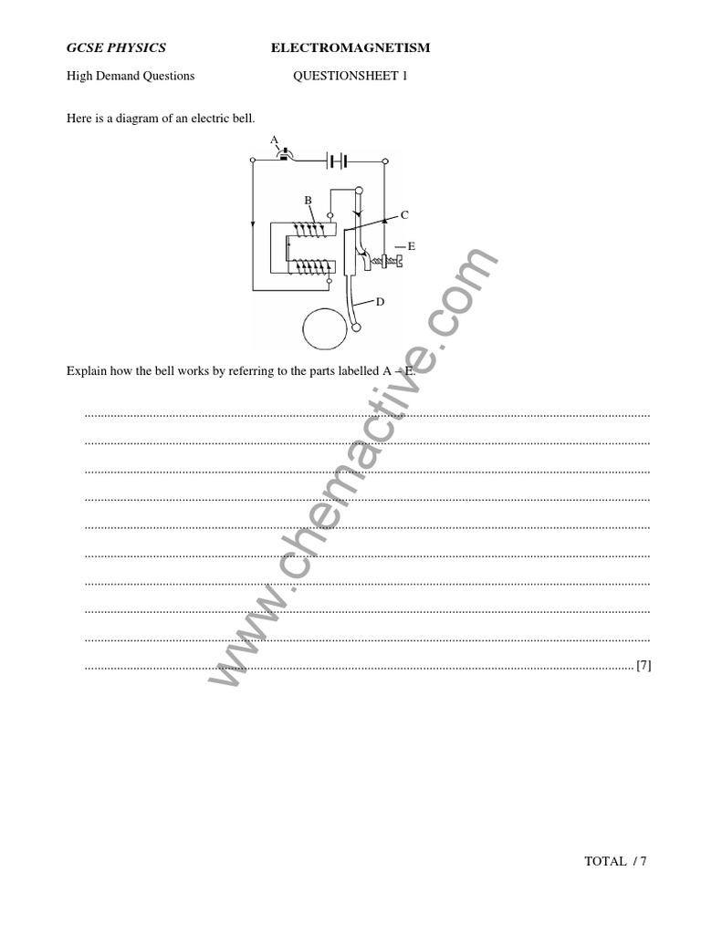 IGCSE Physics Practice Electromagnetism Questions – Electromagnetism Worksheet