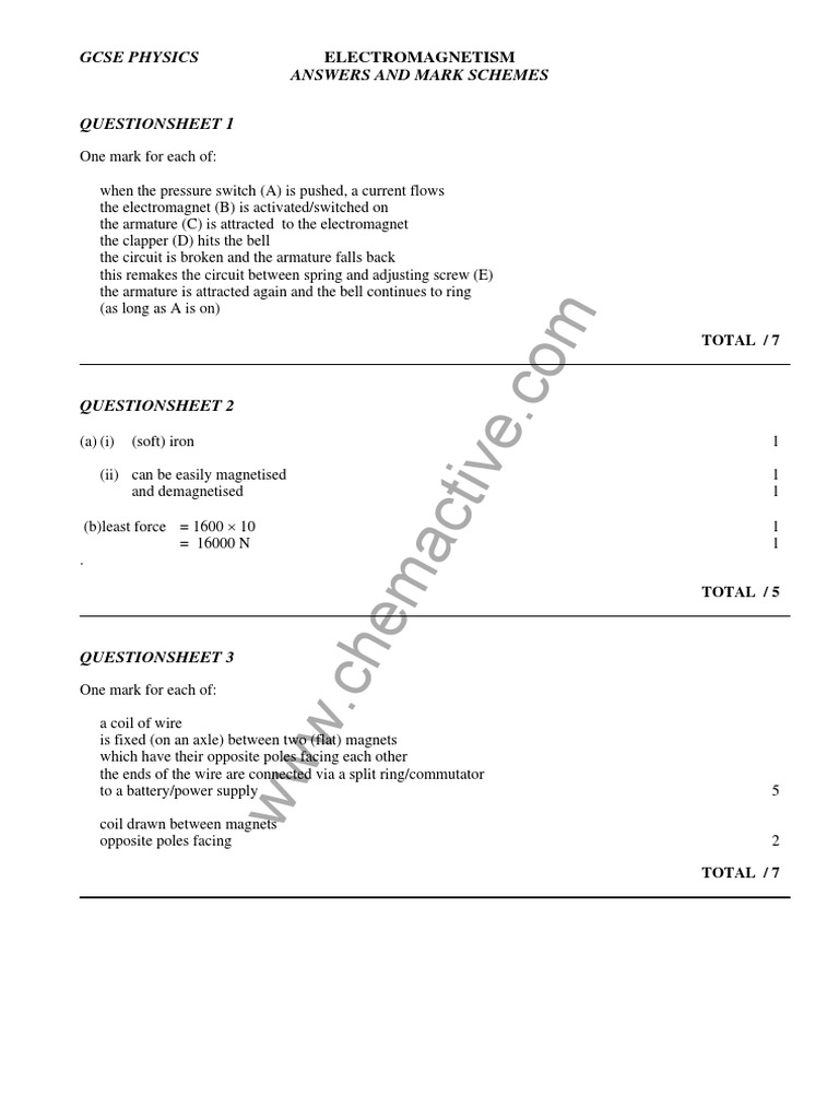 Answers to IGCSE Physics WORKSHEET Electromagnetism – Electromagnetism Worksheet