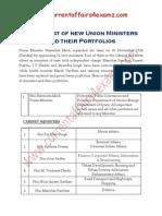 New Ministers & Portfolios- Nov 2014