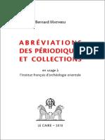 Mathieu, Abréviations des périodiques, 2010