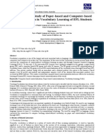 A COMPARATIVE STUDY OF PAPER-BASED AND COMPUTER-BASED CONTEXTUALIZATION IN VOCABULARY LEARNING OF EFL STUDENTS
