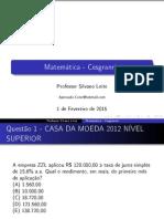 Lista de Questões de matematica Cesgranrio
