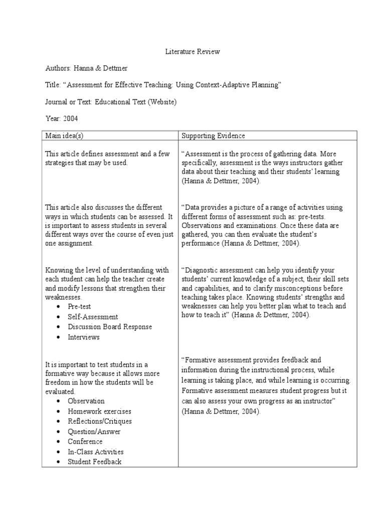 literature review self assessment teacher