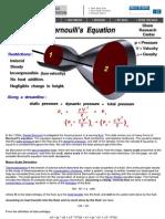 Bernoulli Equation (NASA)