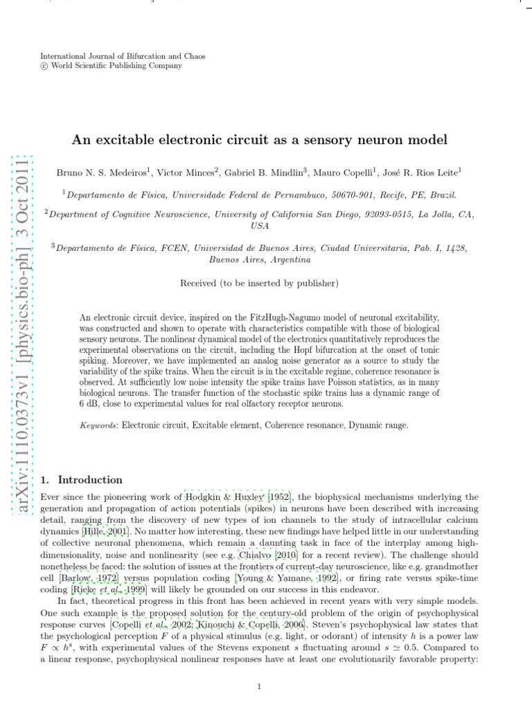 Electronic Circuit As Sensory Neuron Model Action Potential Journal Neural Oscillation
