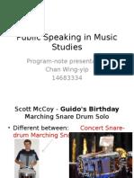 Public Speaking in Music Studies