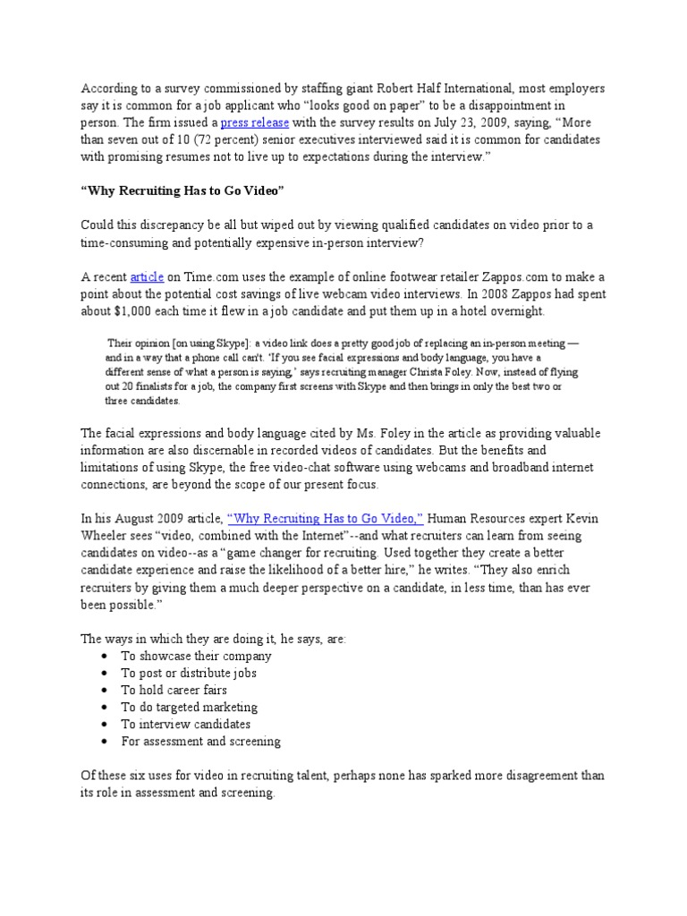 Video Resume Narrative Recruitment Rsum