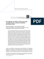 A model for the effects of job insecurity on performance , turnover intention, and absenteeism