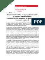 Pronunciamiento público de apoyo y adhesión política  al programa de Izquierda Unida. A la colonia peruana residentes  en  Madrid -  España y ciudadanía en general.
