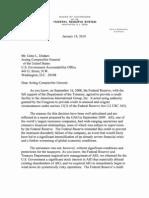 Ben Bernanke's Letter to G.A.O. Re A.I.G.