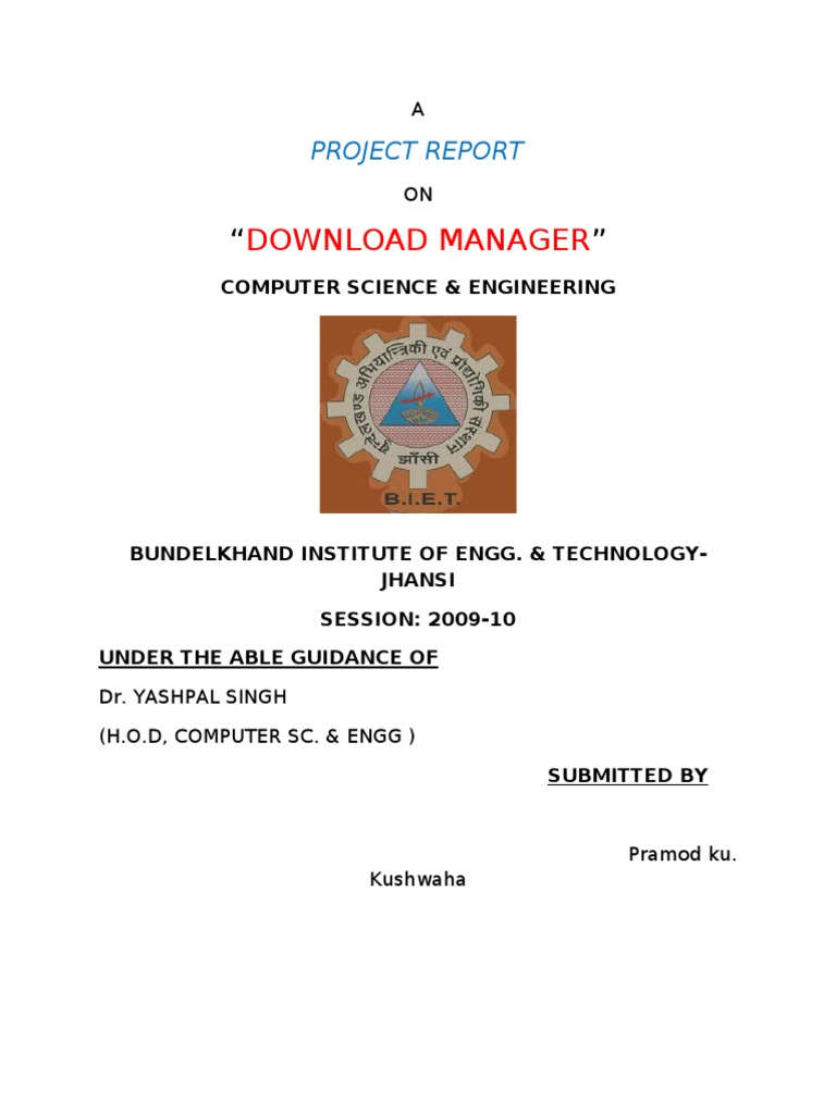 Download Manager Project | Microsoft Windows | Feasibility Study