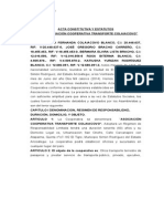 Acta Constitutiva y Estatutos 2014, Cooperativa