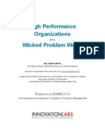 High Performance Organizations in a Wicked Problem World