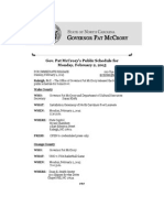 Gov. Pat McCrory's Public Schedule for Monday, February 2, 2015