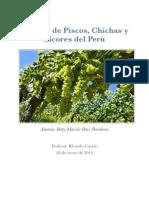Trabajo de Piscos, Chichas y Licores del Peru