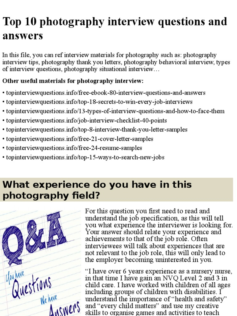 Top 10 photography interview questions and answers.pptx ...