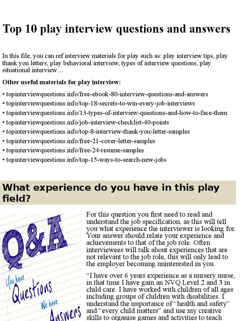 kindergarten interview questions and answers