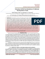 Artificial Neural Networks (ANNS) For Prediction of California Bearing Ratio of Soils