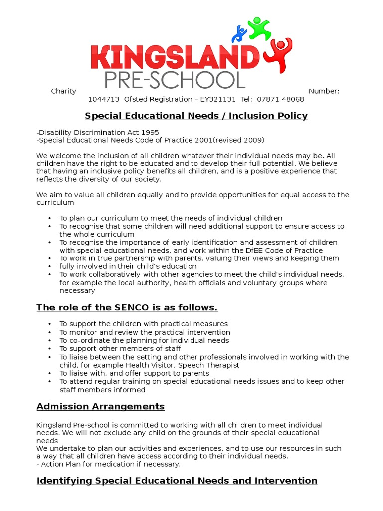 the special educational needs code of practice 2001