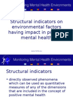 Structural indicators on environmental factors having impact in positive mental health