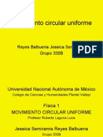 Movimiento Circular Uniforme Reyes Balbuena Jessica Semiramis