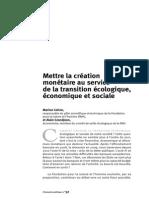 Mettre la création monétaire au service de la transition économique, écologique et sociale