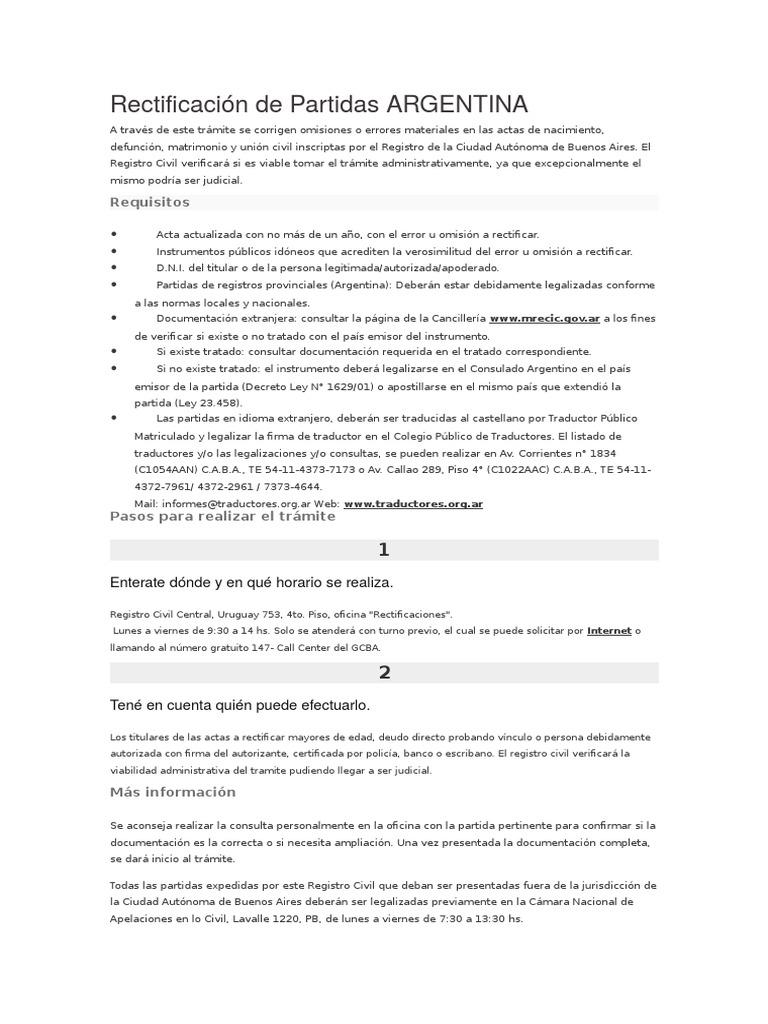 Rectificación de Partidas DERECHO COMPARADO