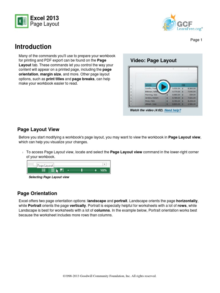 Lesson 11 Page Layout | Page Layout | Microsoft Excel