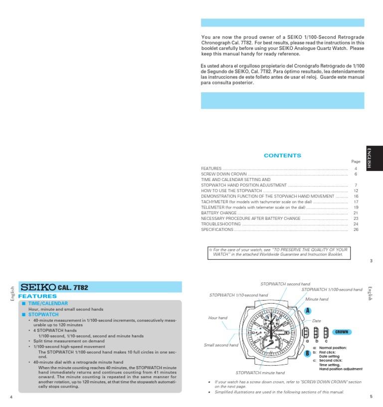 Instruction Manual Seiko 7t82 Chrono Movement Watch Hertz